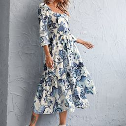 Square Neck Floral Print Ruffle Hem Dress | SHEIN