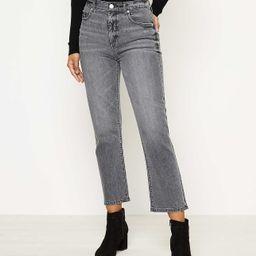 High Waist Straight Crop Jeans in Silver Grey Wash   LOFT