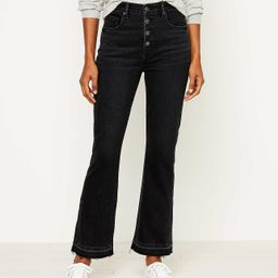High Waist Flare Crop Jeans in Washed Black Wash   LOFT