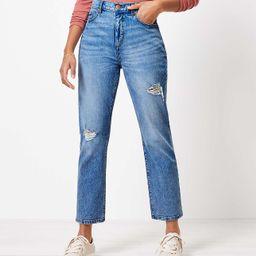 The Destructed High Waist Straight Crop Jean in Authentic Light Indigo Wash   LOFT