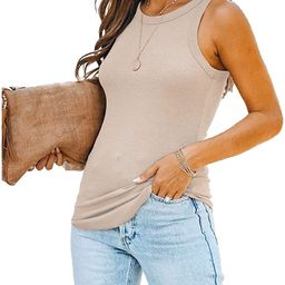 Parrunade Womens Summer Sexy Ribbed Tank Tops Cute Basic Sleeveless Racerback Slim Fit Knit Tank ... | Amazon (US)