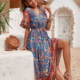Floral Print Knot Front Maxi Dress | SHEIN