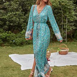 Ditsy Floral Split Front Belted Dress | SHEIN