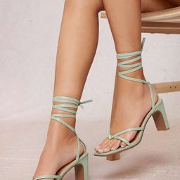 Faux Leather Lace-Up Strappy Block Heels | SHEIN