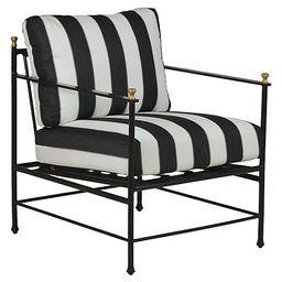 Frances Lounge Chair, Black/White Cabana Stripe | One Kings Lane