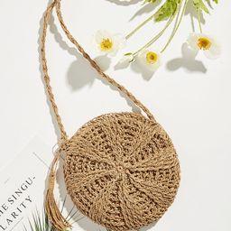 Tassel Detail Round Straw Crossbody Bag | SHEIN
