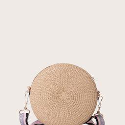 Round Woven Raffia Crossbody Bag | SHEIN