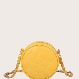 Mini Quilted Round Shaped Crossbody Bag | SHEIN