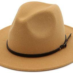 Women's Classic Wide Brim Fedora Hat with Belt Buckle Felt Panama Hat | Amazon (US)