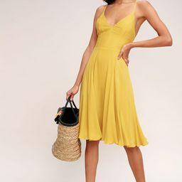 Troulos Mustard Yellow Lace-Up Midi Dress   Lulus (US)