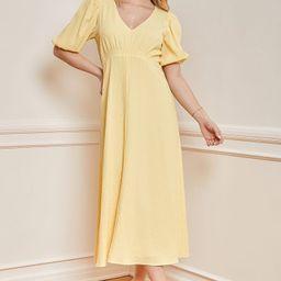 Spring into Happiness Light Yellow Puff Sleeve Midi Dress   Lulus (US)