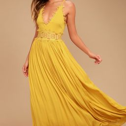 This is Love Mustard Yellow Lace Maxi Dress   Lulus (US)