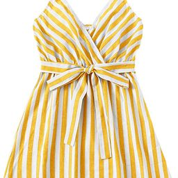 Romwe Women's Cute Sleeveless Striped Belted Wrap Summer Cami Tank Mini Dress | Amazon (US)