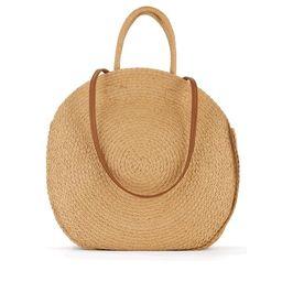 Time & Tru Striped Straw Circle Tote Bag with Inner Slip Pocket | Walmart (US)