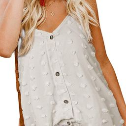 Women's Button Down V Neck Strappy Tank Tops Loose Casual Sleeveless Shirts Blouses | Amazon (US)