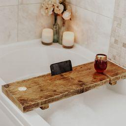 Wooden Bath Caddy  Handmade Rustic Upcycled   Etsy   Etsy (UK)