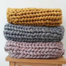 Chunky Knit Acrylic Blankets Hand Made to Order Various   Etsy   Etsy (UK)