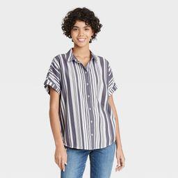 Women's Striped Dolman Short Sleeve Button-Down Shirt - Universal Thread Gray L | Target