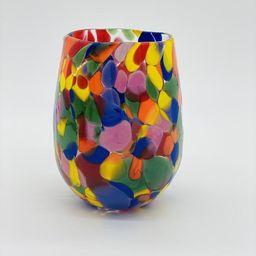 Hand Blown Glass: Rainbow Stemless Wine Glass   Etsy (US)