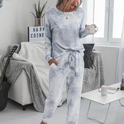 Tie Dye Tee With Knot Sweatpants | SHEIN