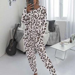 Leopard Tee With Tie Front Sweatpants | SHEIN