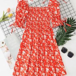Knot Detail Ditsy Floral Shirred Dress   SHEIN