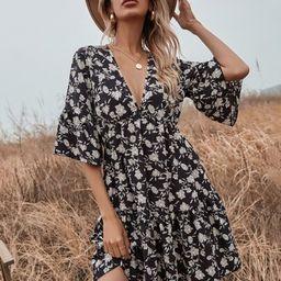 Allover Floral Print Ruffle Hem A-line Dress | SHEIN