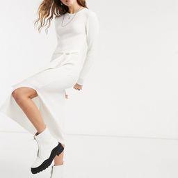 ASOS DESIGN knitted rib long dress in cream-Blue | ASOS (Global)