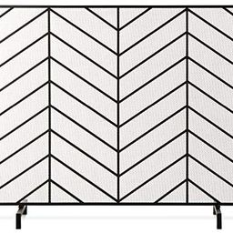 Amazon.com: Best Choice Products 38x31in Single Panel Handcrafted Wrought Iron Mesh Chevron Firep... | Amazon (US)