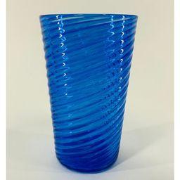 Hand Blown Glass: Blue Optic Twist Pint Glass   Etsy (US)