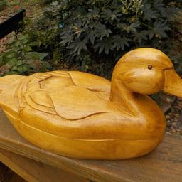 Vintage Hand-Carved Large DUCK Fowl WOOD BOX c1990s | Etsy (US)