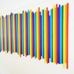Large slat wood wall art. Rainbow colors. Sculpture wall art in multicolor design. Bold 3d art. P...   Etsy (US)