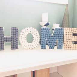 Customizeable HOME Felt Ball Letters, Hangable Wooden Home Sign - Custom Home Sign for Wall or Sh...   Etsy (US)
