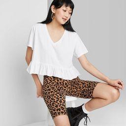 Women's Short Sleeve V-Neck Peplum Cropped T-Shirt - Wild Fable™ Fresh White M   Target
