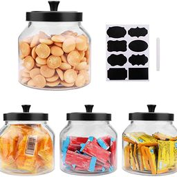 Glass Jars With Sealed Lids,Clear Glass Food Storage container with Black Brushed Metal lids ,70 ... | Amazon (US)