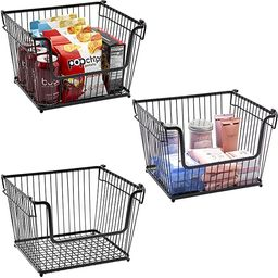 Sorbus Wire Metal Basket Bin, Stackable Storage Baskets, Cubby Bins for Food, Kitchen, Home, Pant... | Amazon (US)