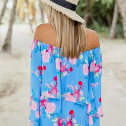 Dramatic Dreams Sky Blue Floral Romper   The Pink Lily Boutique
