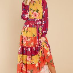 Save The Date Magenta And Mustard Floral Print Maxi Dress   Red Dress