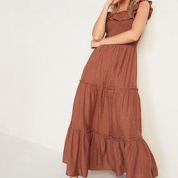 Ruffled Smocked-Bodice Embroidered Sleeveless Maxi Dress for Women   Old Navy (US)