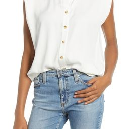 Shoulder Pad Sleeveless Button-Up Top | Nordstrom