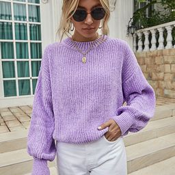 Solid Rib-Knit Drop Shoulder Sweater | SHEIN