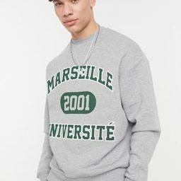 ASOS DESIGN oversized sweatshirt with vintage collegiate text print | ASOS (Global)