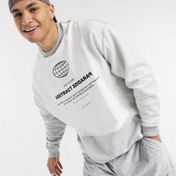 ASOS DESIGN organic oversized sweatshirt in colour block tonal grey panels & chest print | ASOS (Global)
