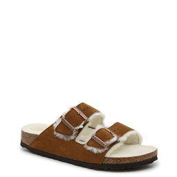 Birkenstock Arizona Shearling Slide Sandal - Women's - Cognac - Flat Footbed Slide   DSW