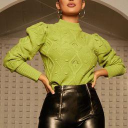 SHEIN Mock Neck Gigot Sleeve Sweater | SHEIN
