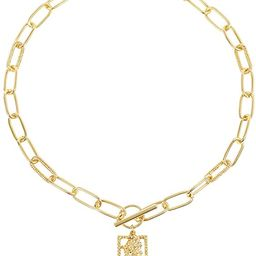 LILIE&WHITE Gold Coin Necklace for Women Elizabeth Gold Pendant Necklace Vintage Textured Medalli...   Amazon (US)
