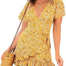 Relipop Summer Women Short Sleeve Print Dress V Neck Casual Short Dresses | Amazon (US)