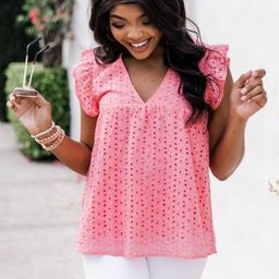 Loving Soul Eyelet Babydoll Pink Blouse | The Pink Lily Boutique