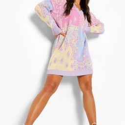 Patchwork Bandana Oversized Knit Jumper Dress | Boohoo.com (US & CA)