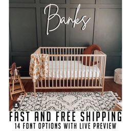 Custom wood name sign for nursery girl, boy, over crib sign, baby name sign, family name sign, cu... | Etsy (US)